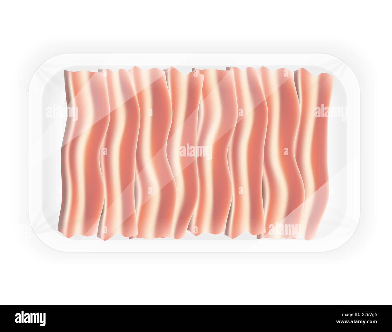 sliced bacon in the package illustration isolated on white background - Stock Image