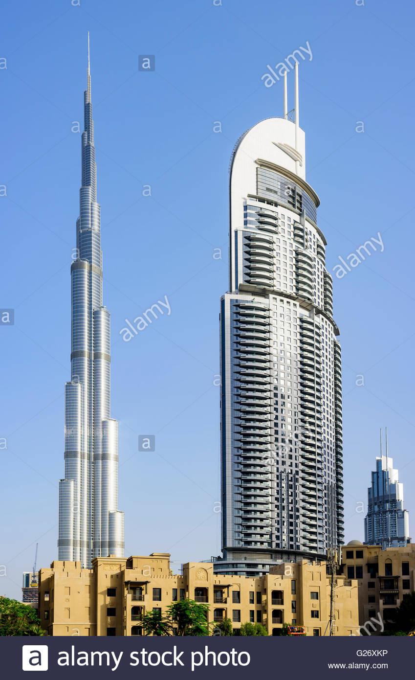 Burj Al Arab & The Adress Hotel, Downtown Dubai, Dubai, United Arab Emirates - Stock Image