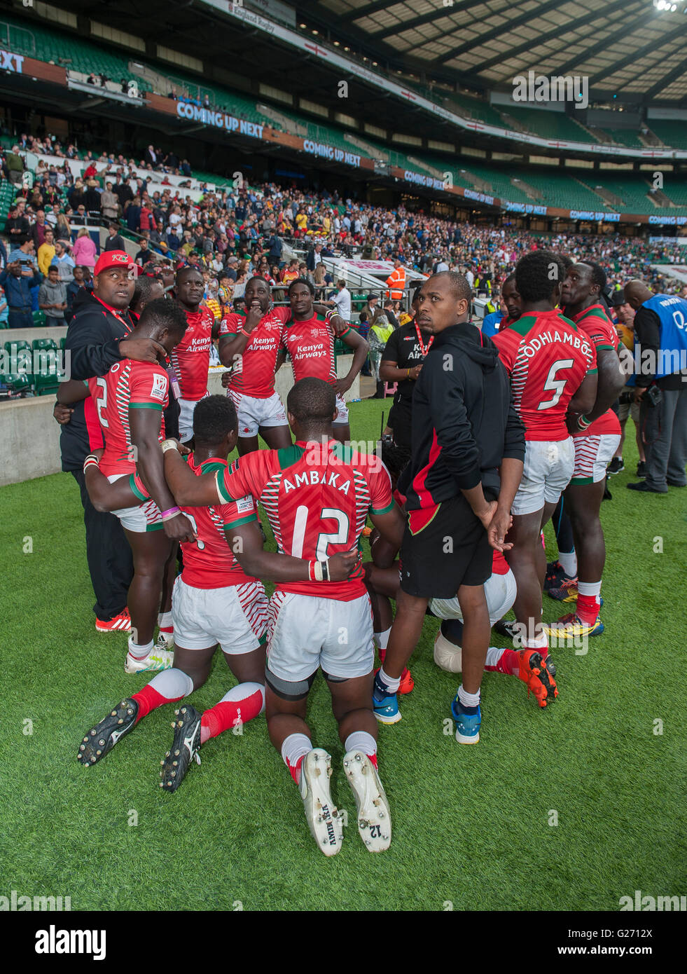 Twickenham Stadium 22nd May 2016. Kenya pray after winning the Sheild Final against Russia during day two of the - Stock Image