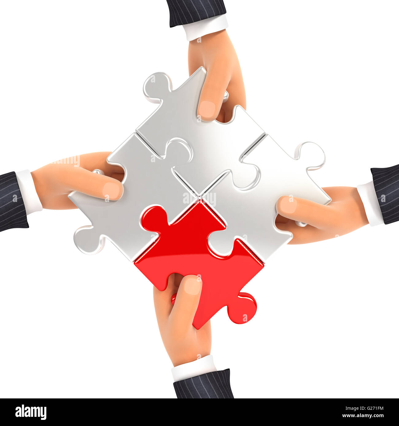 3d hands assembling jigsaw puzzles, isolated white background Stock Photo
