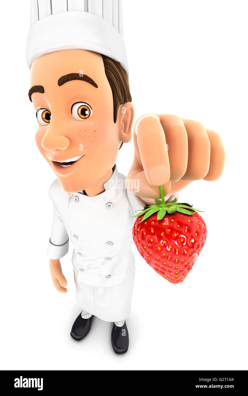 3d head chef holding a strawberry, illustration with isolated white background Stock Photo