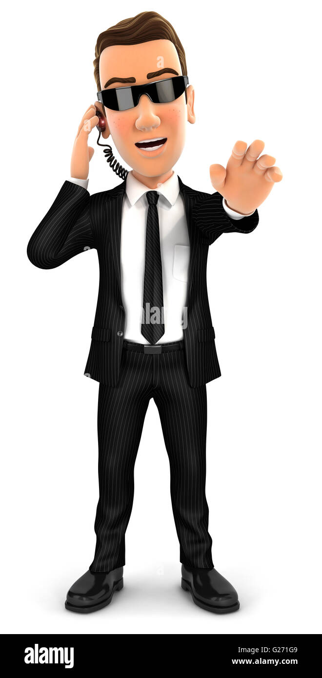 3d security agent stop gesture, isolated white background Stock Photo