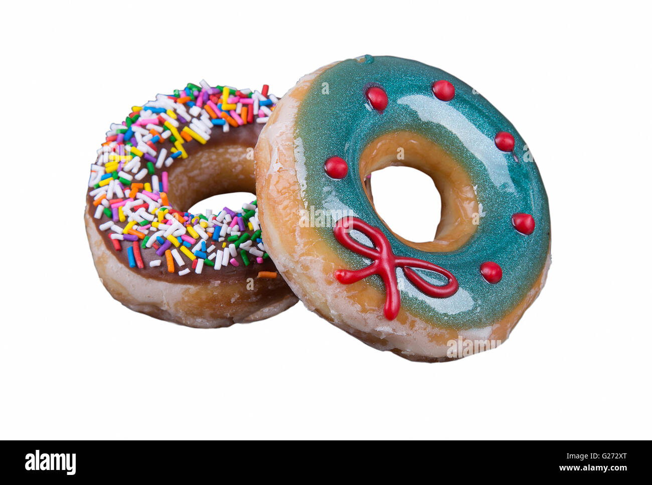 Donut with sprinkles isolated on white background - Stock Image
