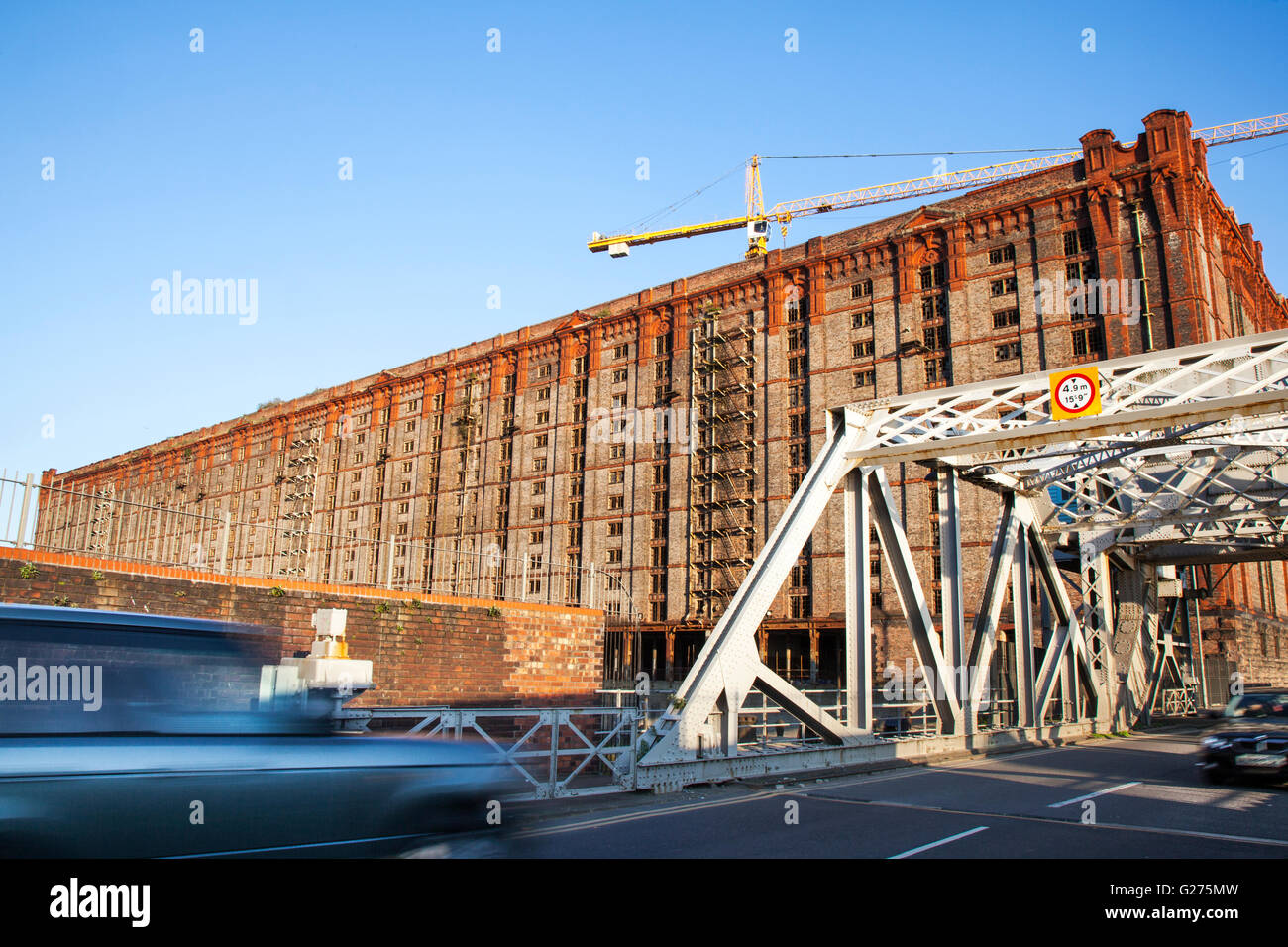 Abandoned 1901 ruins of dockside buildings in the Liverpool Docklands awaiting proposed regeneration. The Stanley Stock Photo