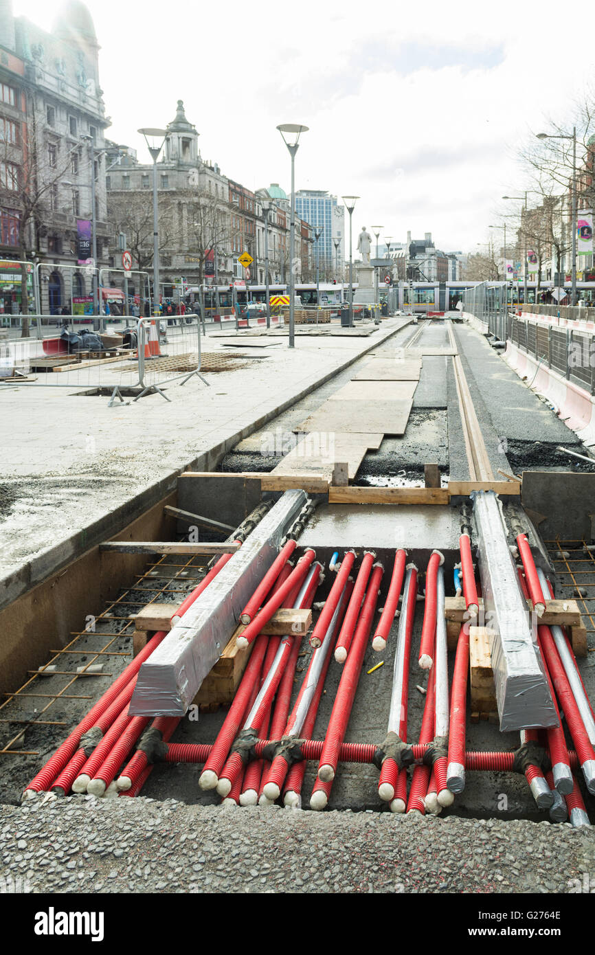 Dublin tram extension works to the Luas Green Line route, Dublin, Ireland - Stock Image