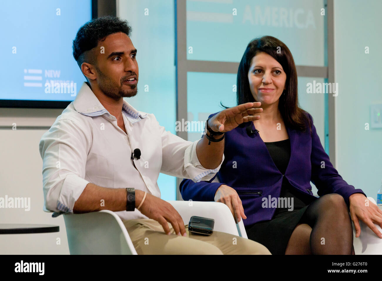 May 03, 2016 - Ahmed Abdellahy, former Muslim extremist speaking at New America - Washington, DC USA - Stock Image