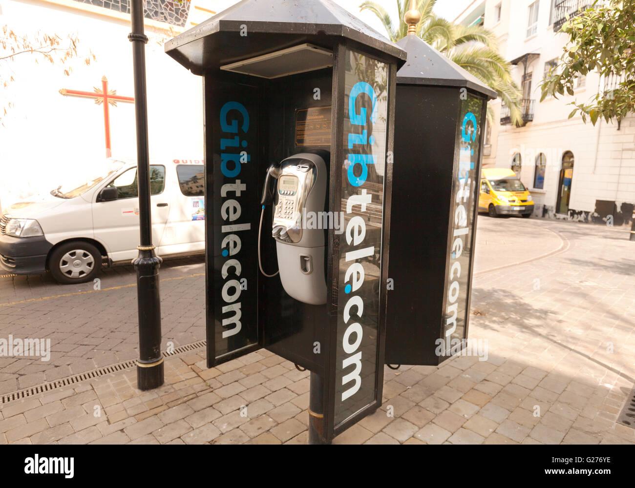 Gibraltar telecom ( Gibtele.com ) phone box, Main St, Gibraltar Europe - Stock Image