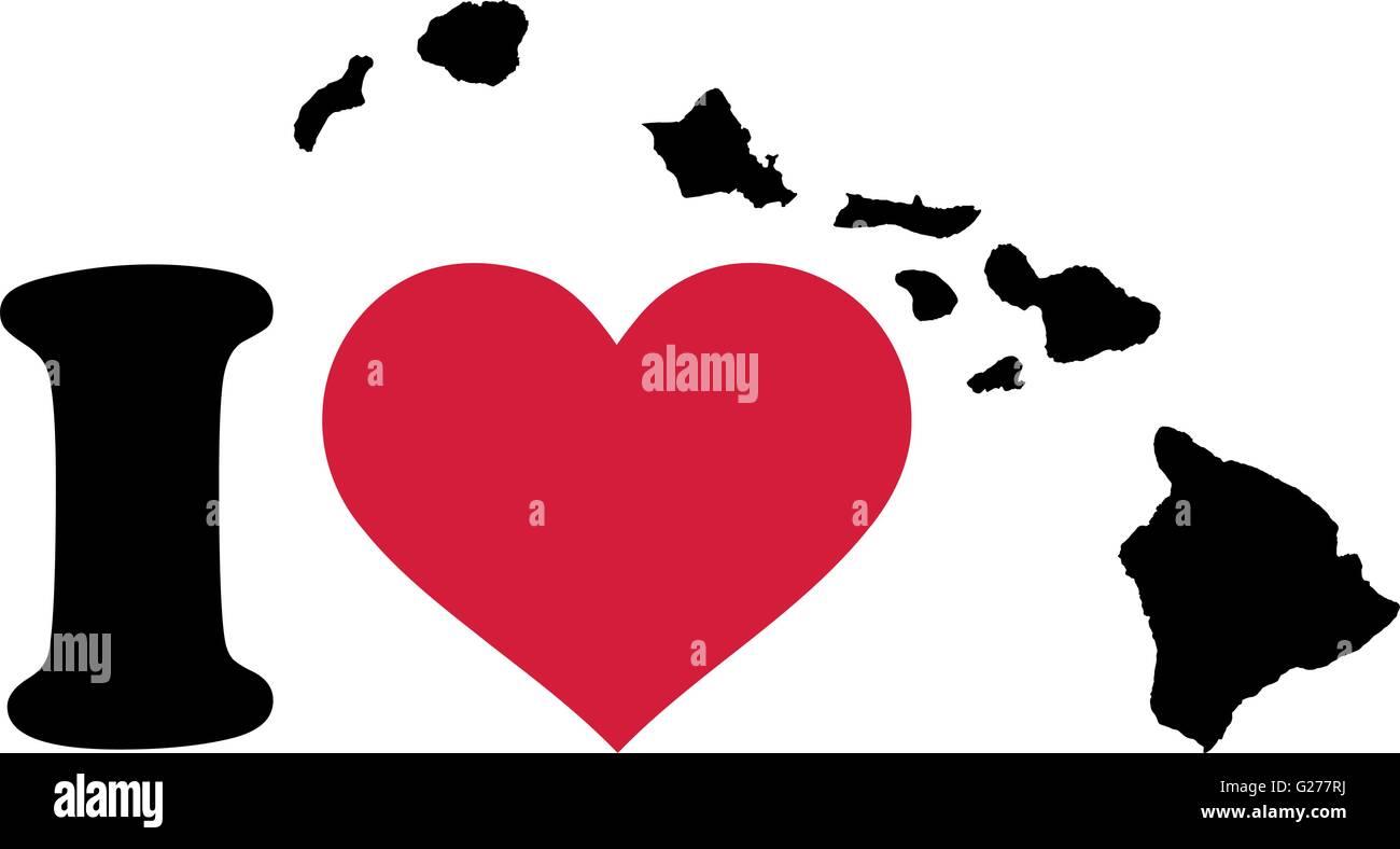 I Love Hawaii Map Stock Vector Art Illustration Vector Image