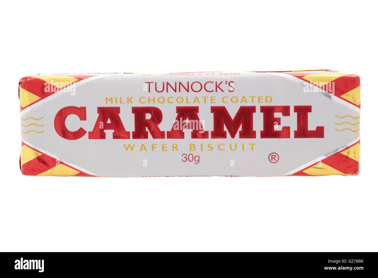 Tunnock's milk chocolate coated caramel wafer biscuit on white background - Stock Image