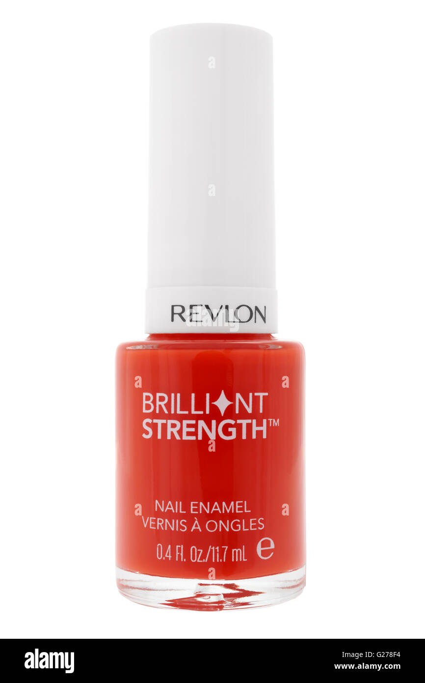 Jar of red nail varnish enamel on white background - Stock Image