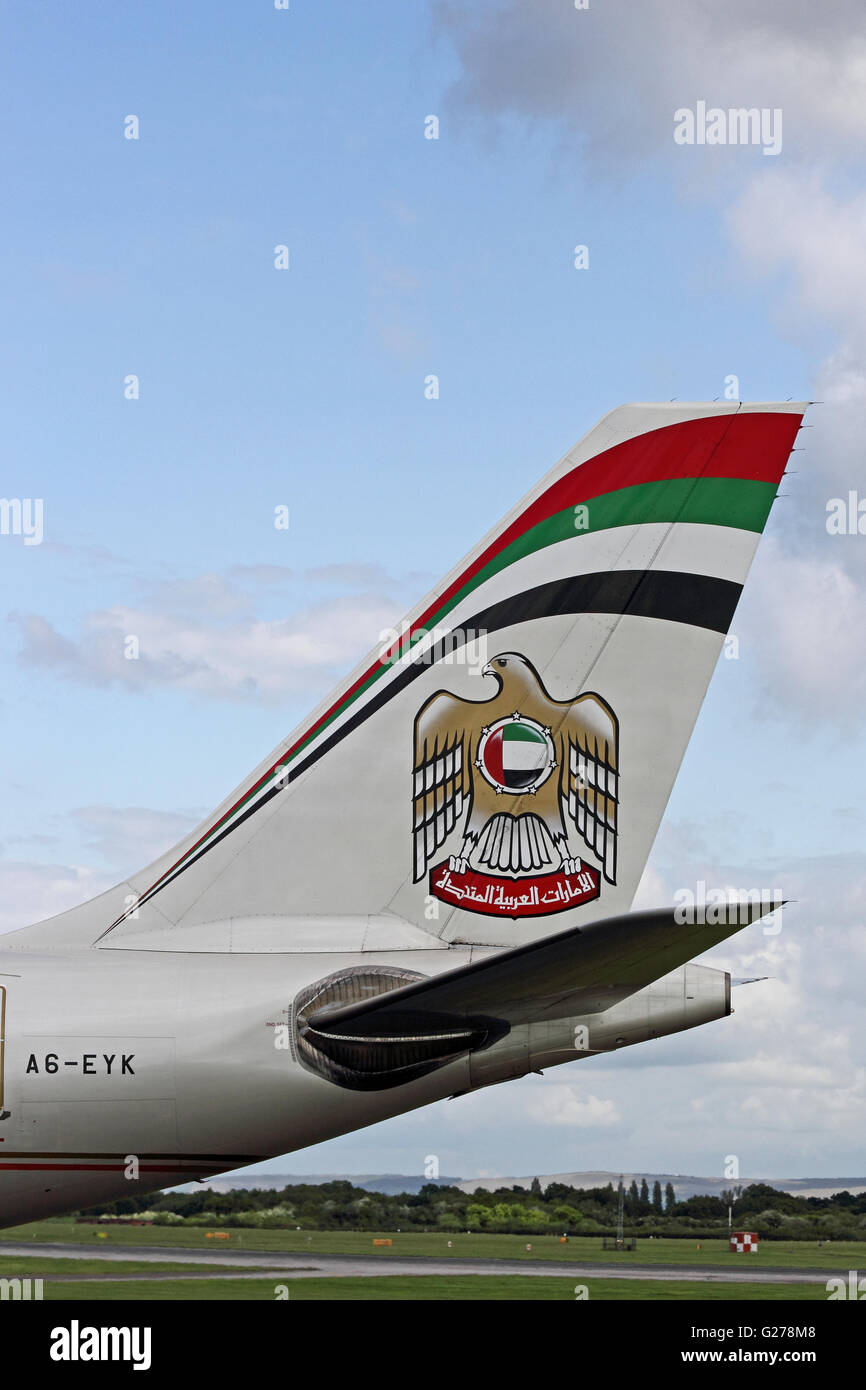 Tailplane and logo of Etihad Airbus A330-243 - Stock Image