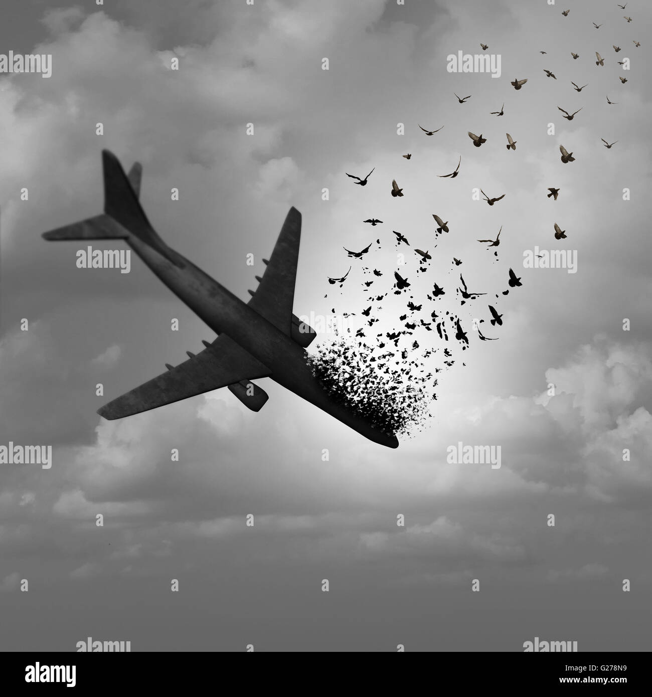 Plane Disappearance and missing flight concept as a plunging crashing airplane falling apart in the sky and tranforming - Stock Image