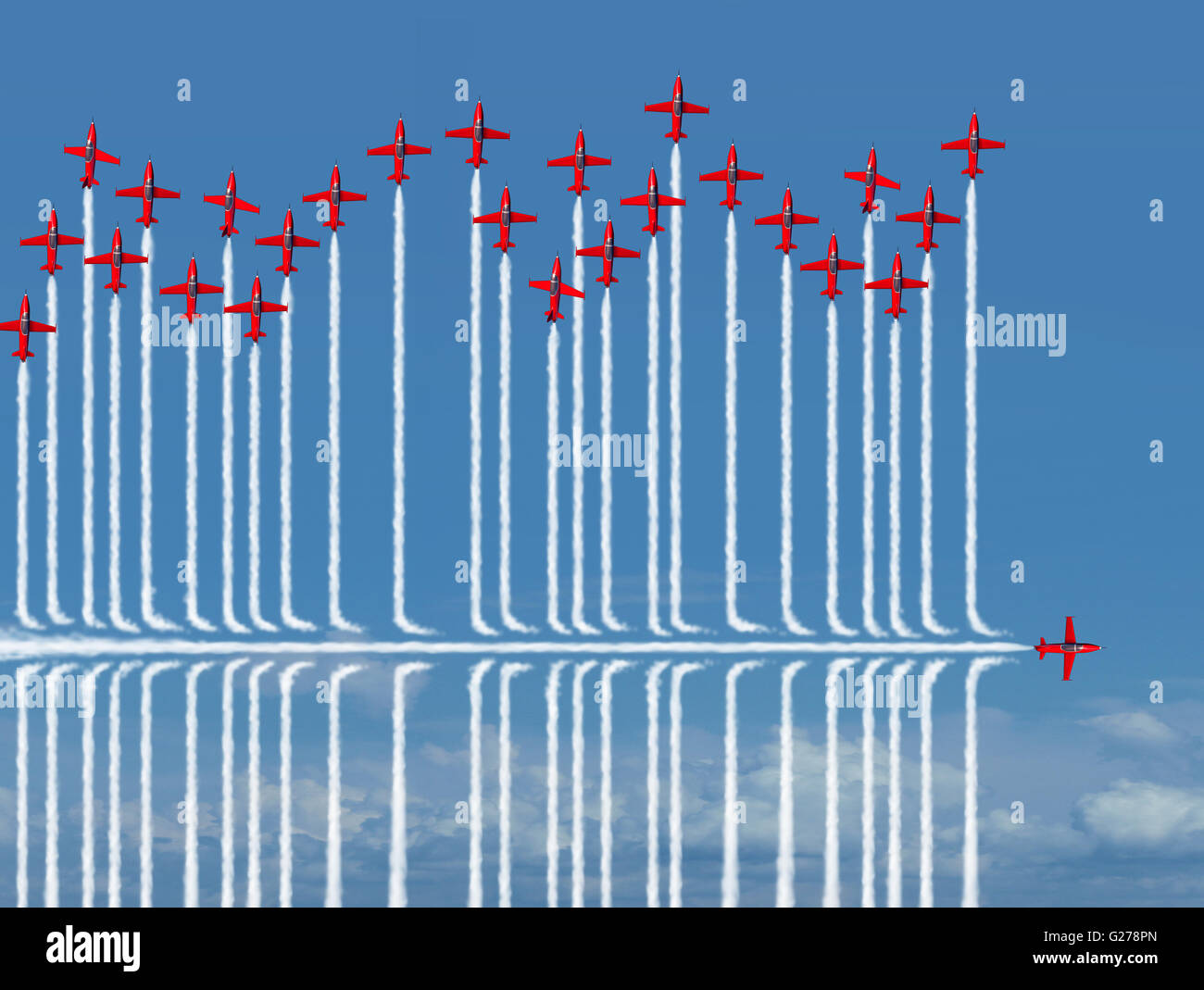 Different strategy business concept as an individual jet airplane flying under the competition as a metaphor for - Stock Image