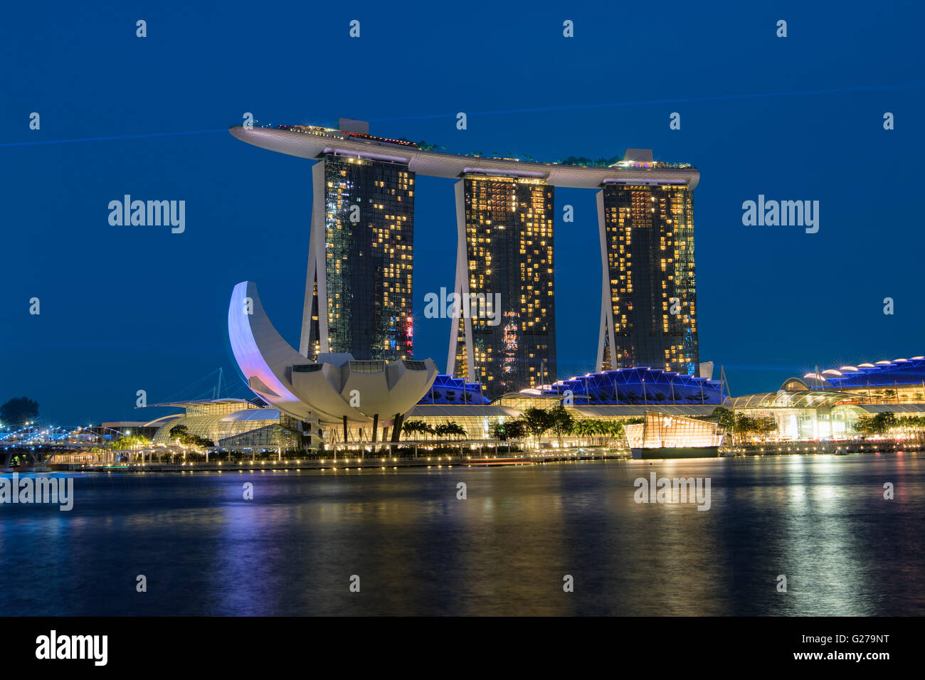 Marina Bay Sands hotel at night in Singapore - Stock Image