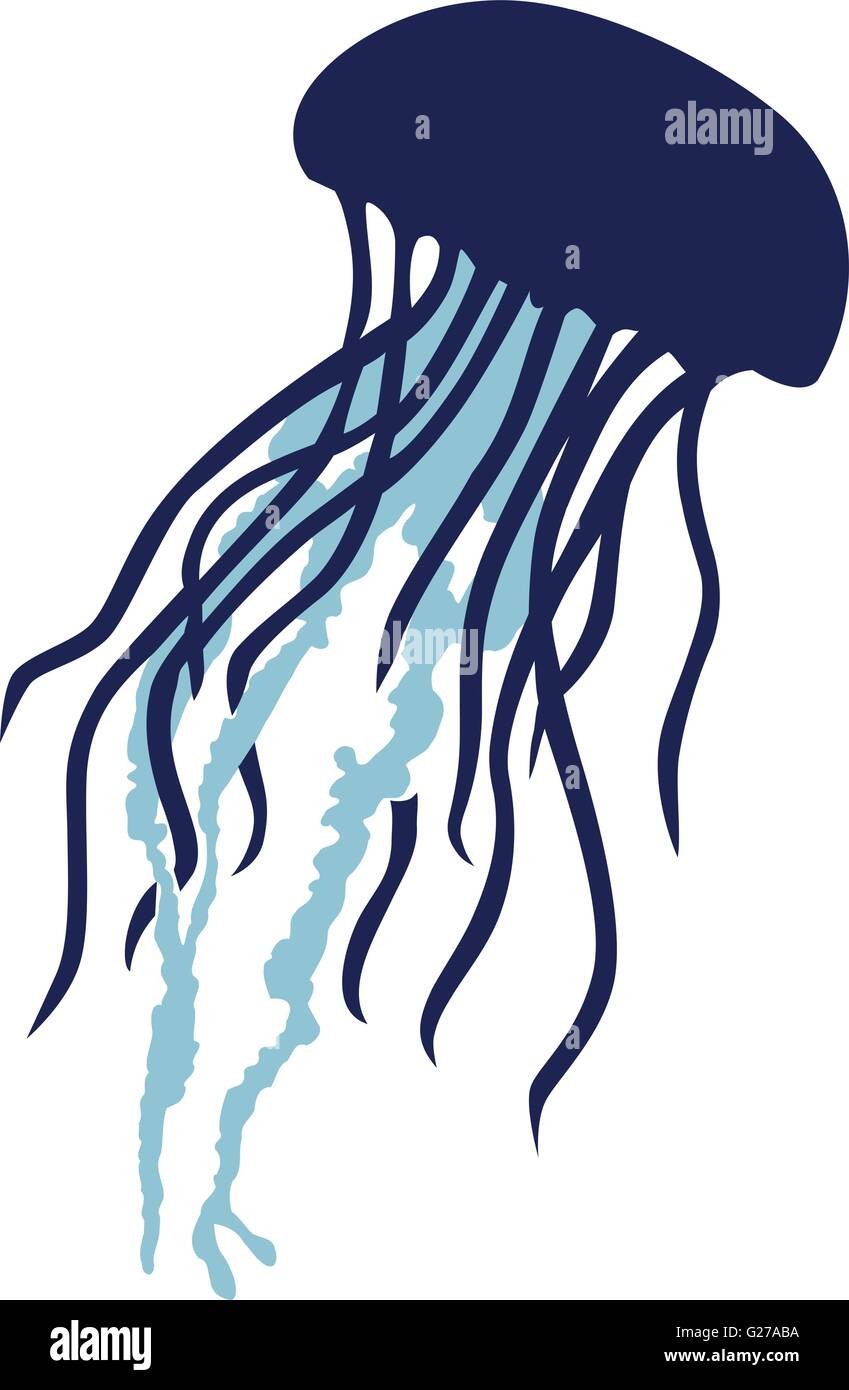 Real Jellyfish silhouette in two colors Stock Vector Art ...  Real Jellyfish ...