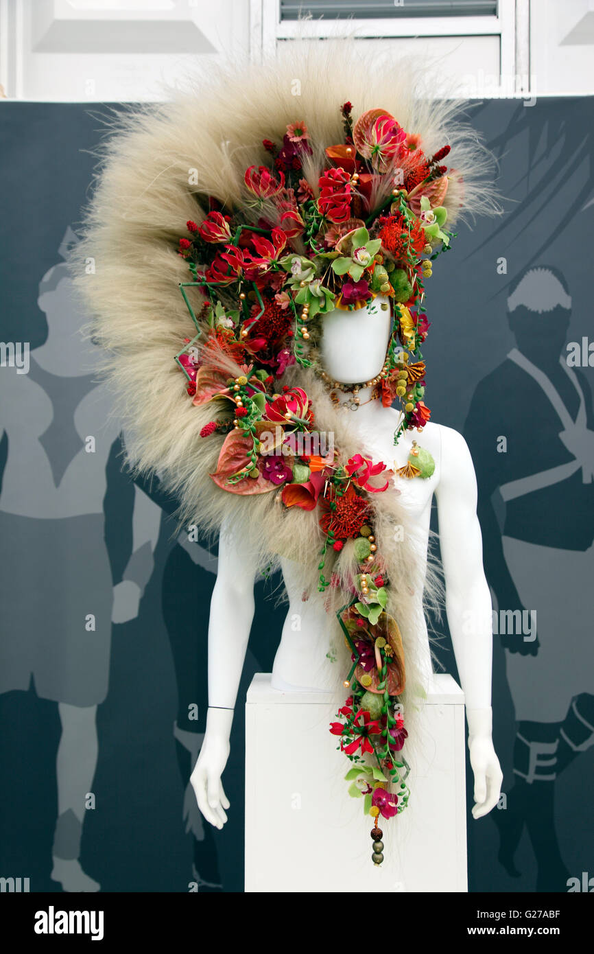 Fantasy floral headgear in the Great Palilion, RHD Chelsea Flower Show 2016 - Stock Image