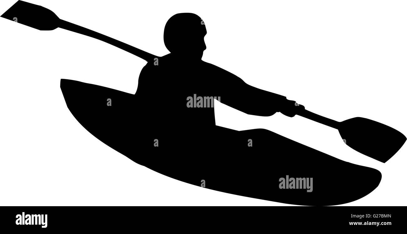 Kayaking Silhouette Stock Vector Art Illustration Image
