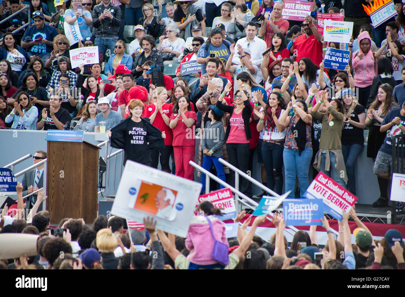 Frances Fisher at the Rally for Vermont Senator and Democratic presidential candidate Bernie Sanders in Carson, - Stock Image