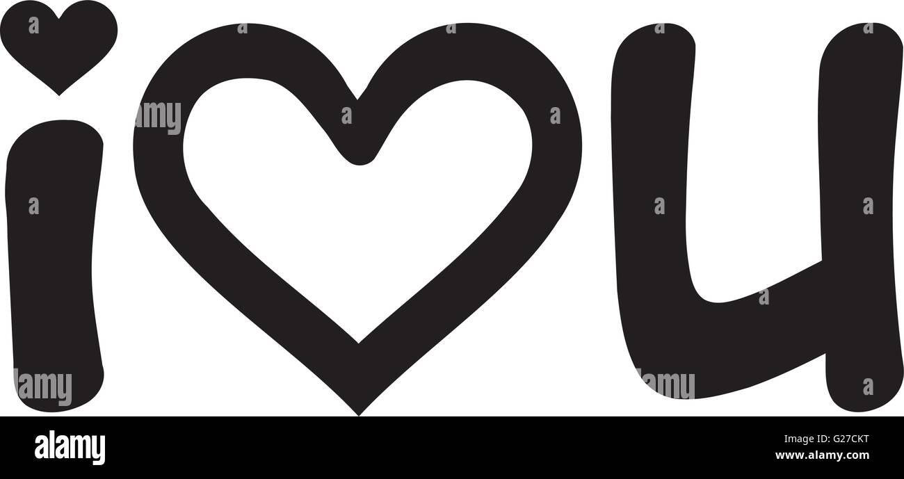 I Love U Hand Written Stock Vector Art Illustration Vector Image