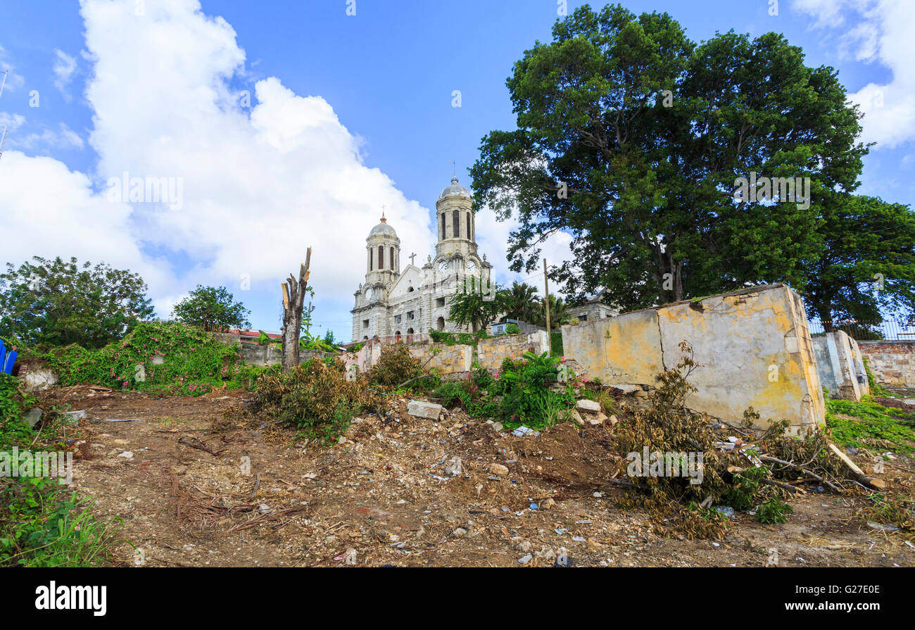 Dilapidated Cathedral Church of St John The Divine, St John's, capital city, in the north of Antigua and Barbuda, - Stock Image