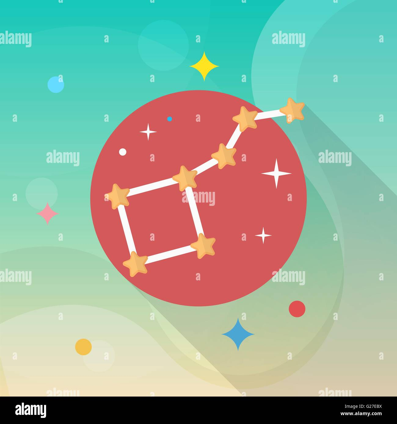 Astrology  flat  icon with long shadow,eps10, - Stock Vector