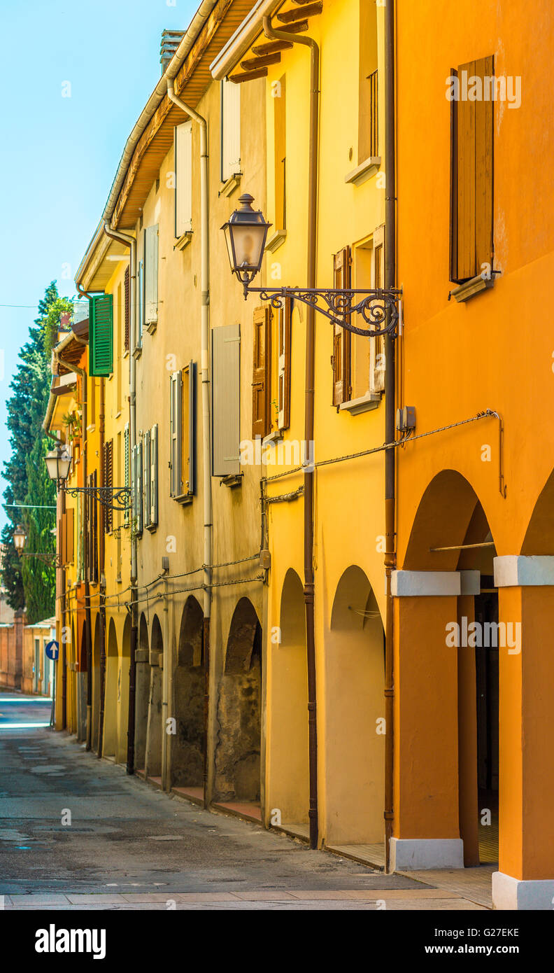 old city street with colorful houses - Stock Image