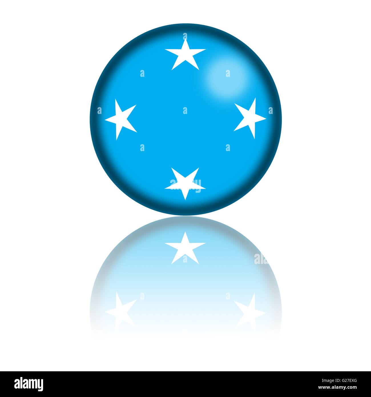 3D sphere or badge of Micronesia flag with reflection at bottom. - Stock Image
