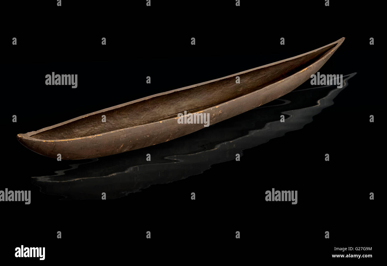 A Pirogue Dugout Canoe typical of the craft fashioned by the Choctaw Tribes of Southern Louisiana.Constructed from - Stock Image