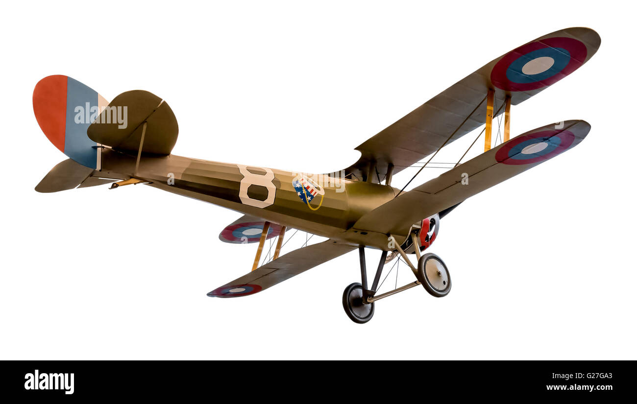 A low angle,in flight view of a Nieuport 28C-1 with the famous Hat in the Ring logo. - Stock Image