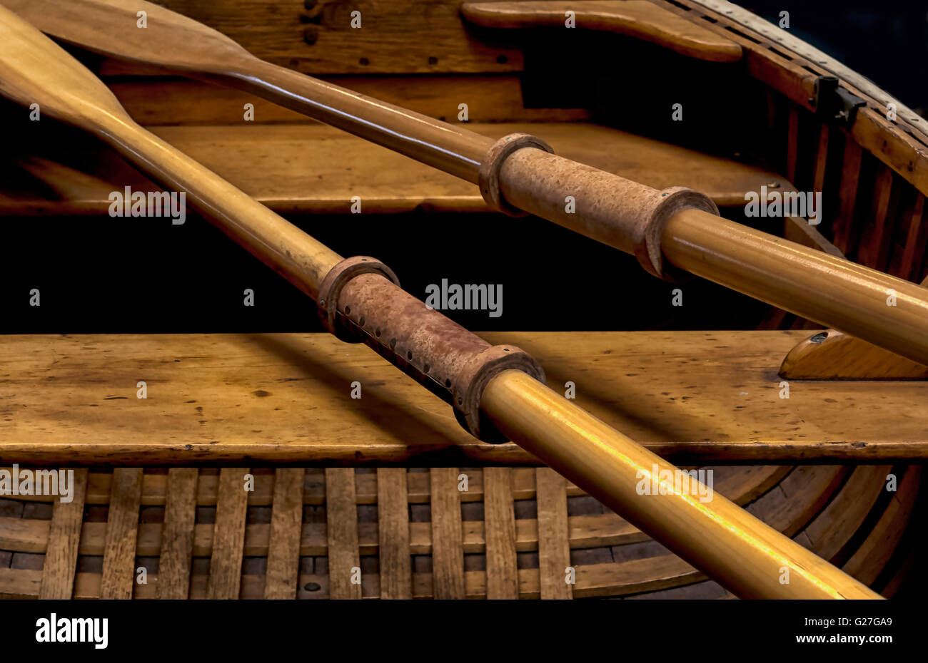 A nautical illustrative  image of oars in a late 1800's row boat.Useful as a background image or wall art. - Stock Image