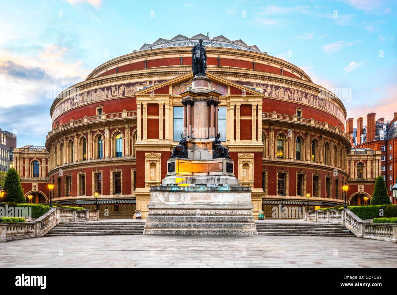 Royal Albert Hall, London, England, UK, with sunset - Stock Image