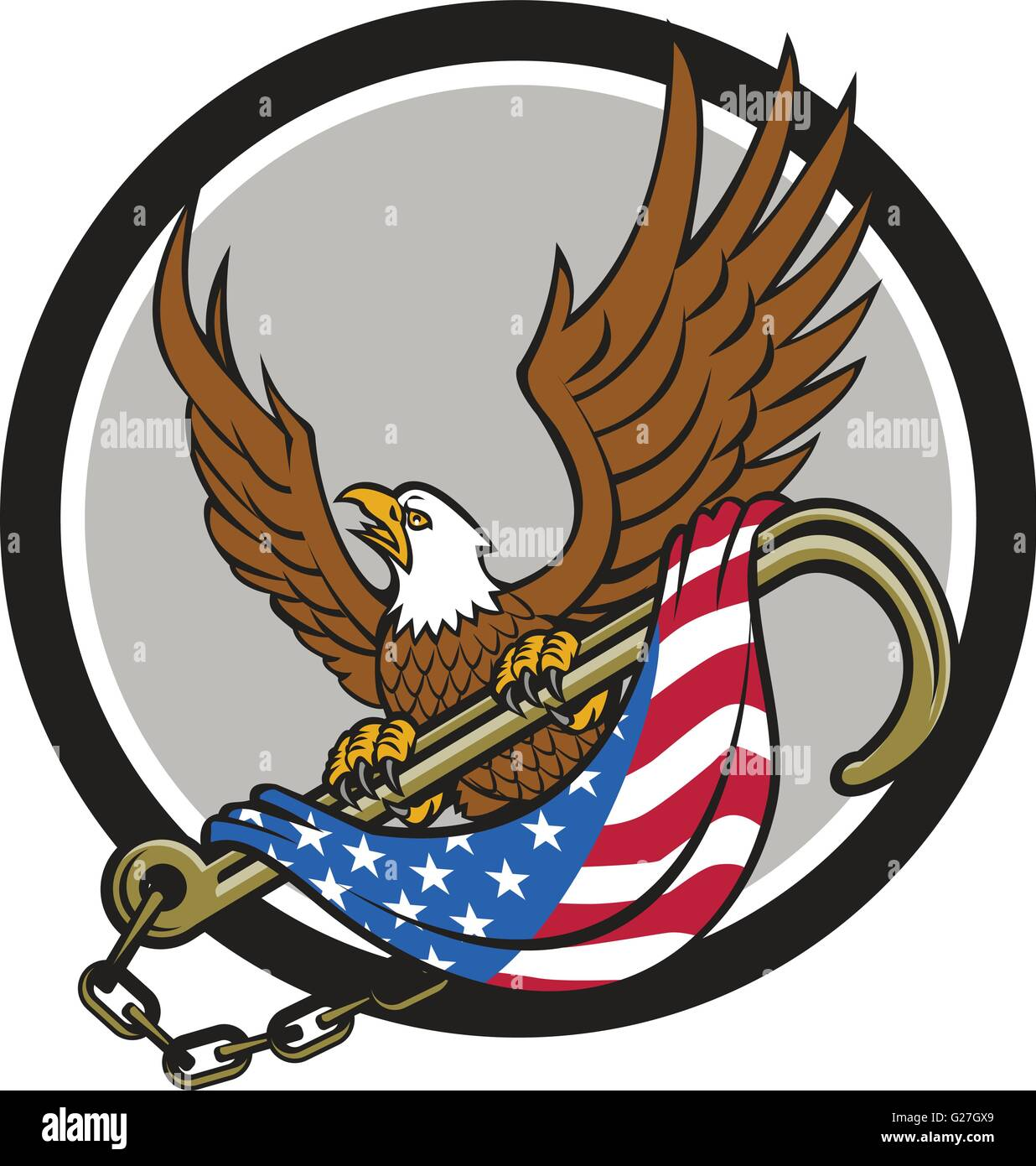 Illustration of an american bald eagle looking to the side clutching with its talon a towing j hook with chains - Stock Image