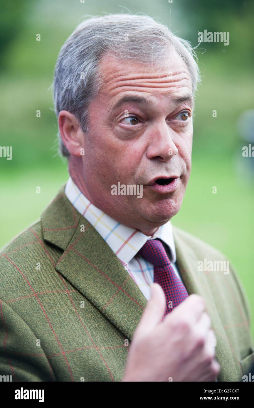 UKIP Leader Nigel Farage aboard his BREXIT battle bus in Thorpe Hesley near Sheffield - Stock Image