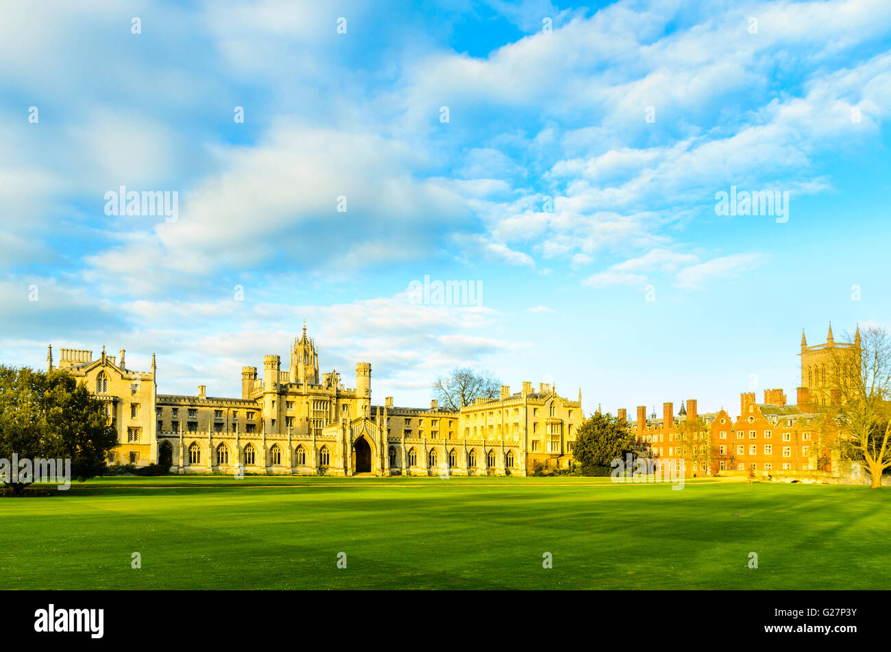 St John's College, Cambridge, England with New Court at centre to left and the Chapel tower showing over older buildings - Stock Image