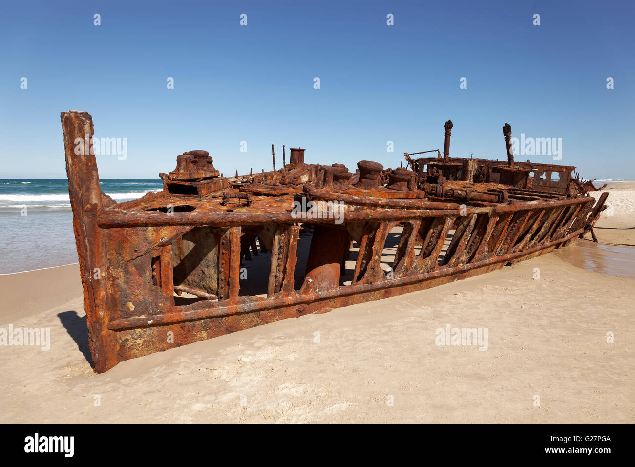 Wreck, luxury liner SS. Maheno, ran aground on the beach on 09.07.1935, 75 Mile Beach Road, official Highway - Stock Image
