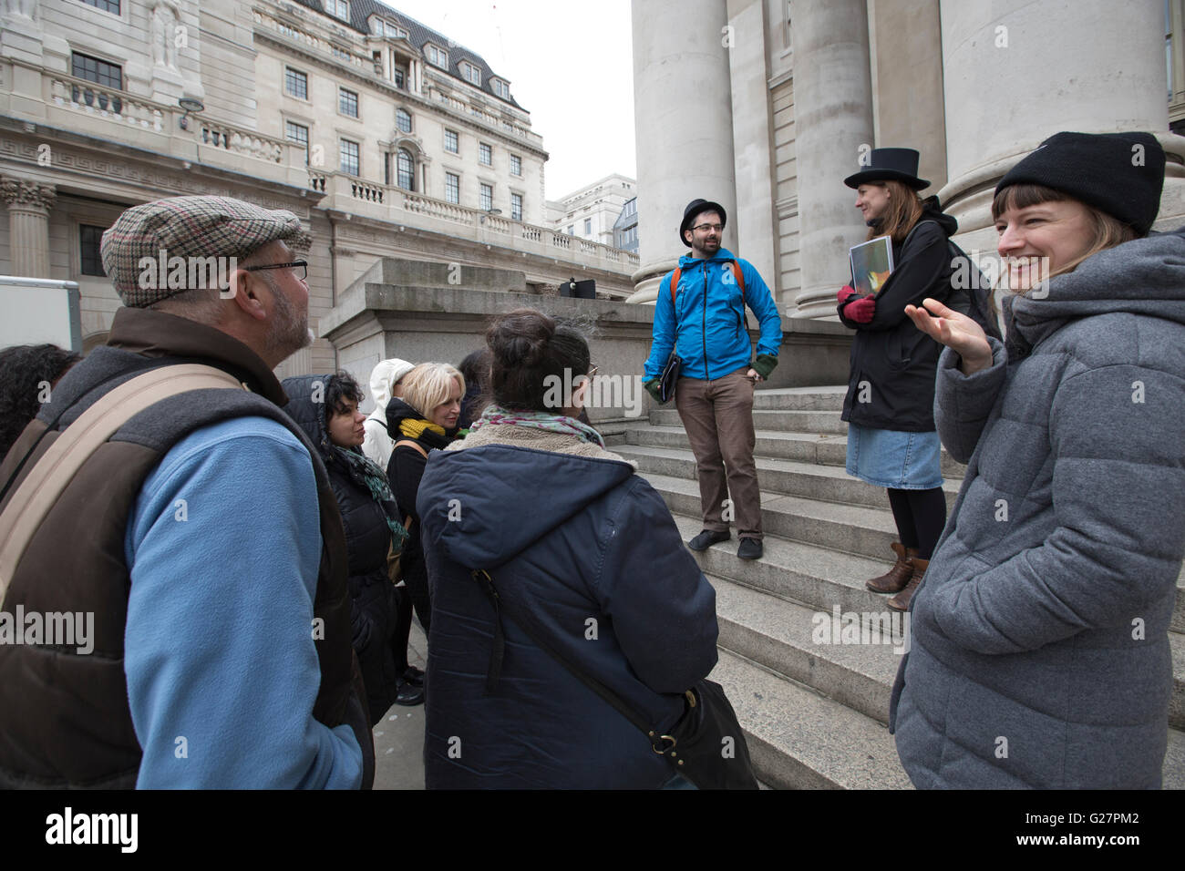 Occupy London's city walking tour through the heart of City of London's financial institutions, London, - Stock Image