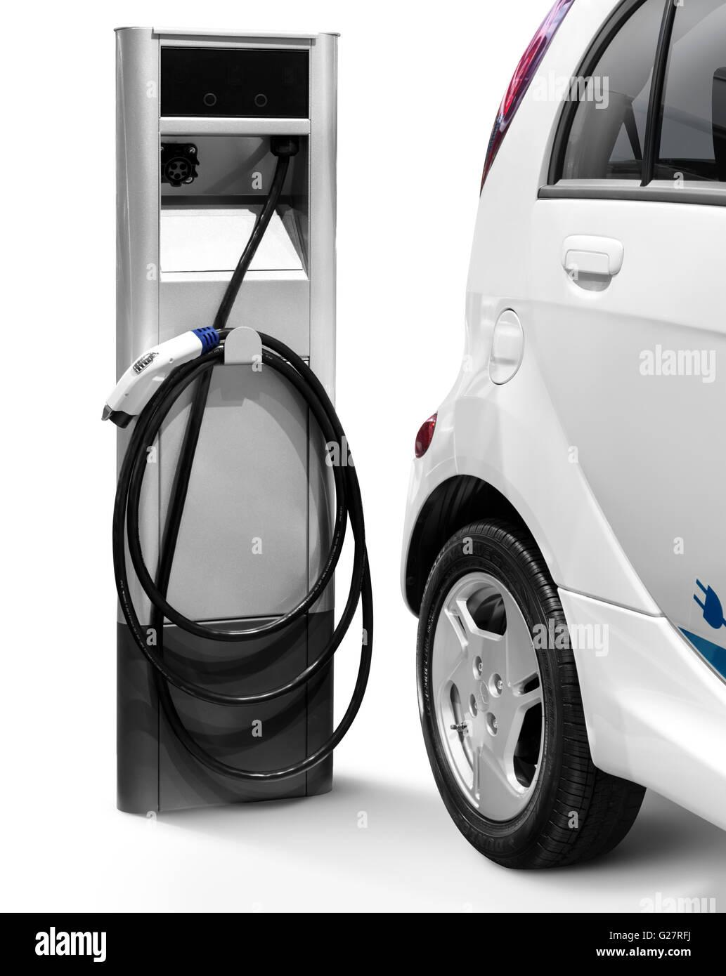 Mitsubishi I MiEV Electric Car At A Charging Station   Stock Image