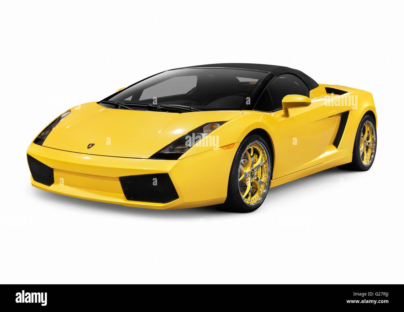 Yellow 2006 Lamborghini Gallardo Spyder, Sports Car   Stock Image