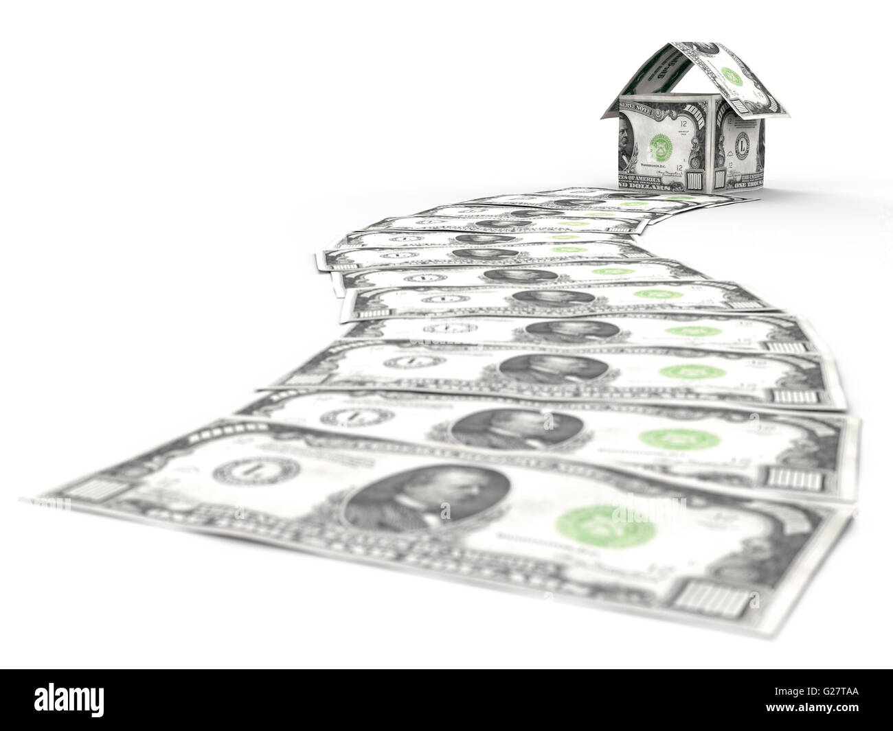 Money path leading to a house made of one thousand dollar bills - Stock Image