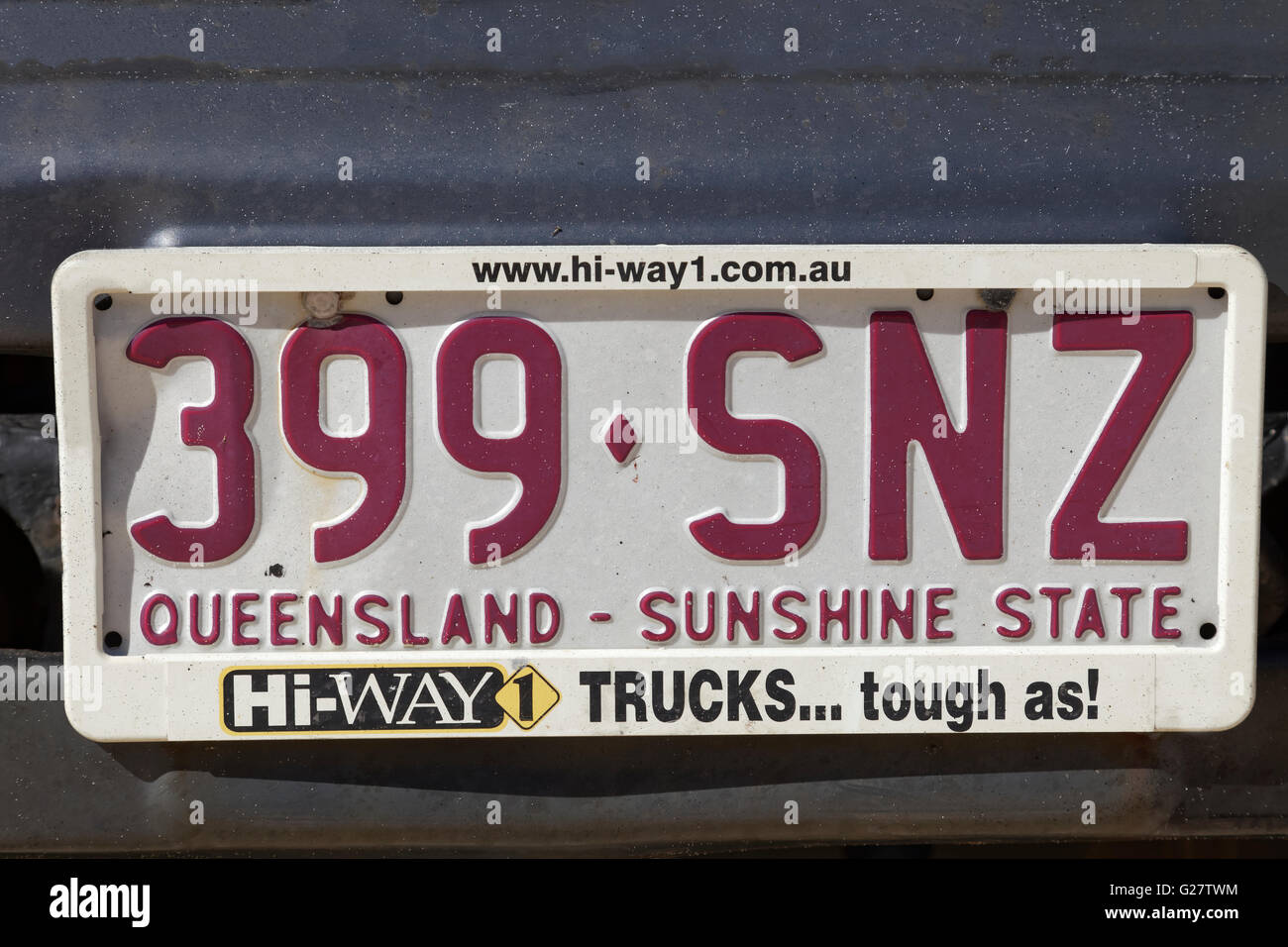 License plate of Queensland, Sunshine state, Australia - Stock Image