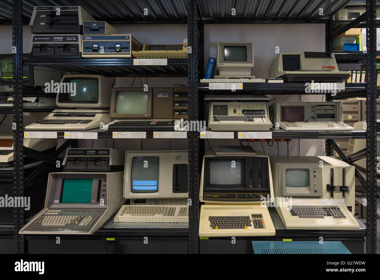 Old computers in the Computer Museum, University of Stuttgart, Stuttgart-Vaihingen, Baden-Württemberg, Germany - Stock Image