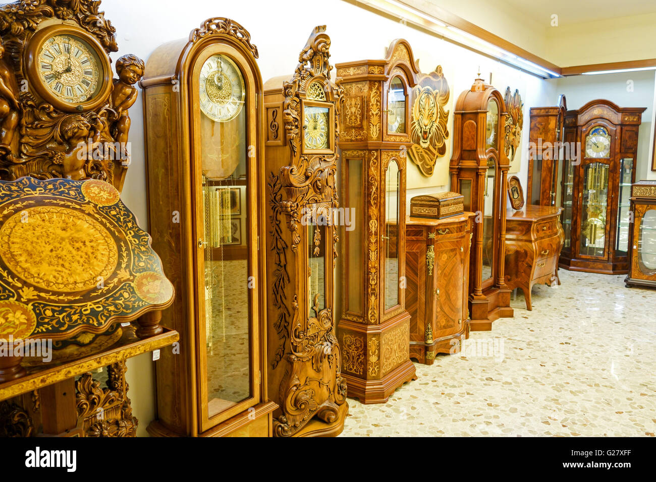 Ornate Wooden Inlaid Furniture Tables Clocks Etc For Sale In A Shop In  Sorrento Italy Europe