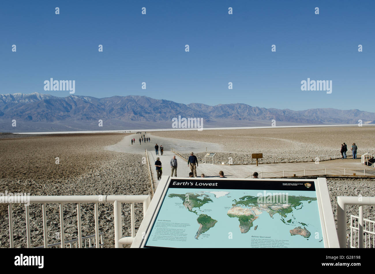 Visitors at Death Valley National Park at Badwater, lowest point in the US - Stock Image