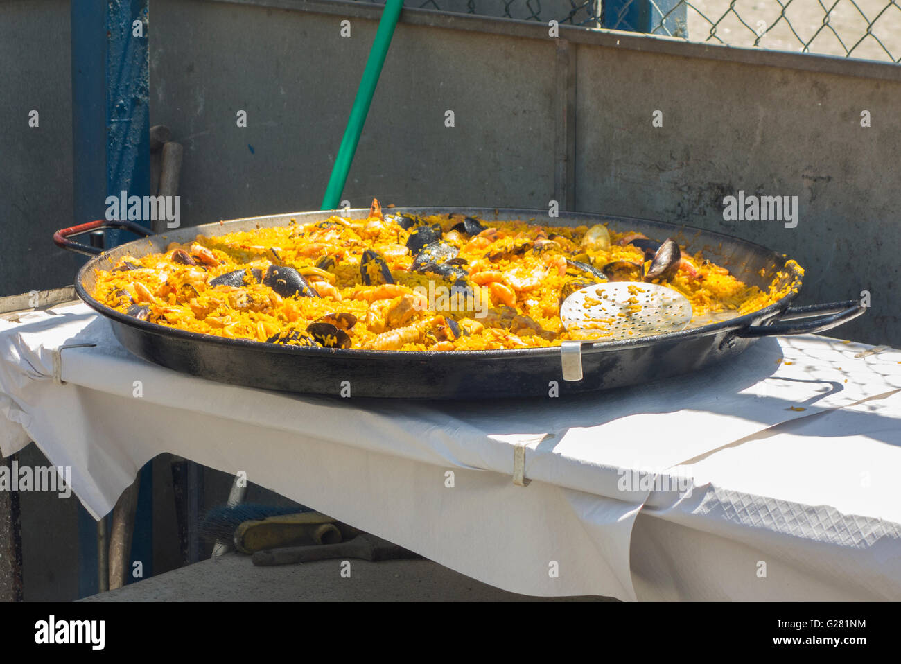 Traditionally cooked Paella in Spain - Stock Image