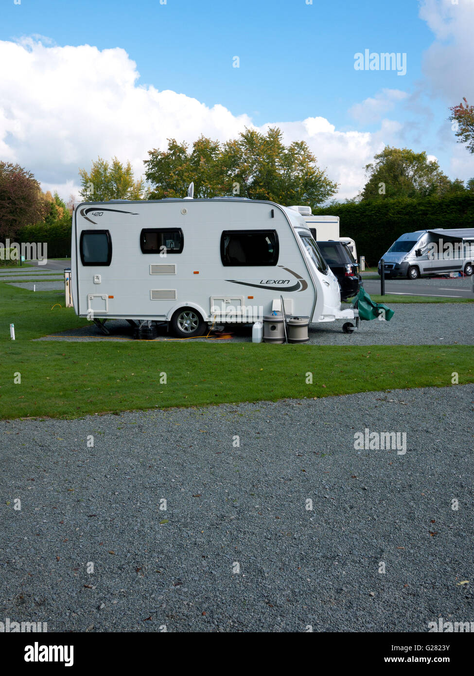 Caravan set up on Welsh campsite, North Wales, UK. - Stock Image