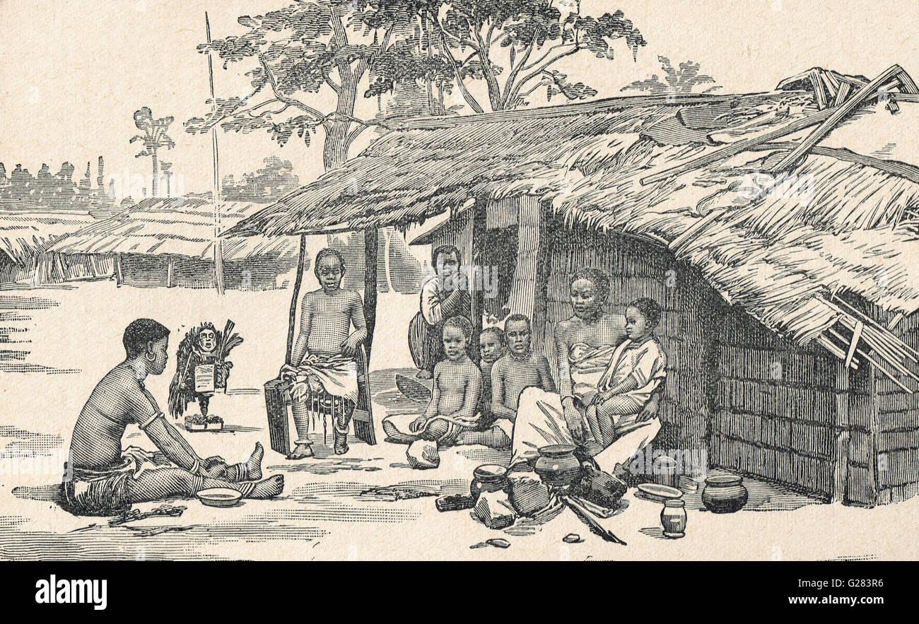 A family in the Congo circa 1879 (Pre 'Free State') - Stock Image