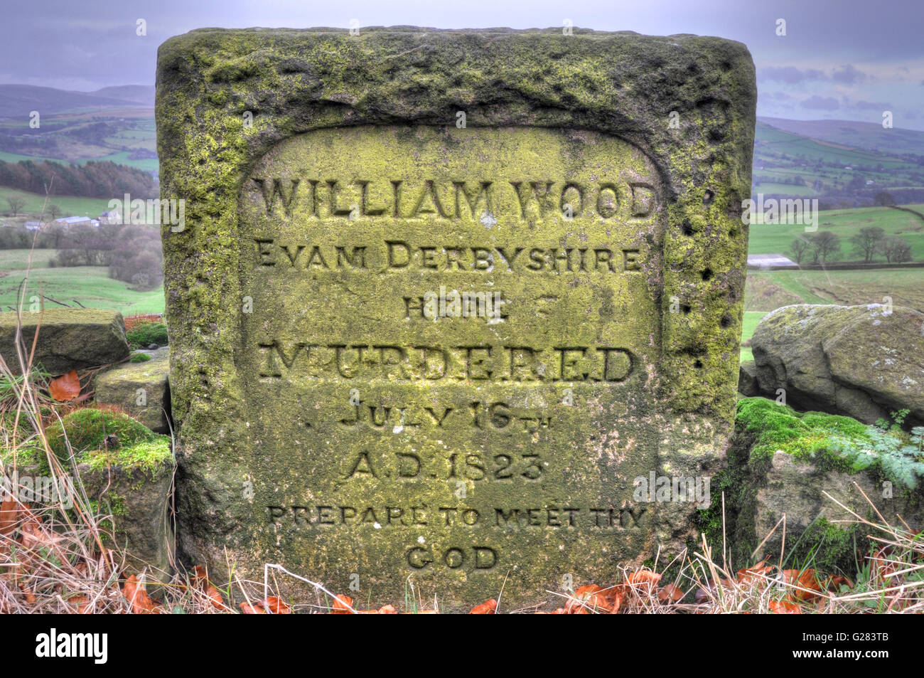 Roadside Murder stone, Near Disley, Near Manchester, UK. Commemorating the murder of William Wood on the road in - Stock Image
