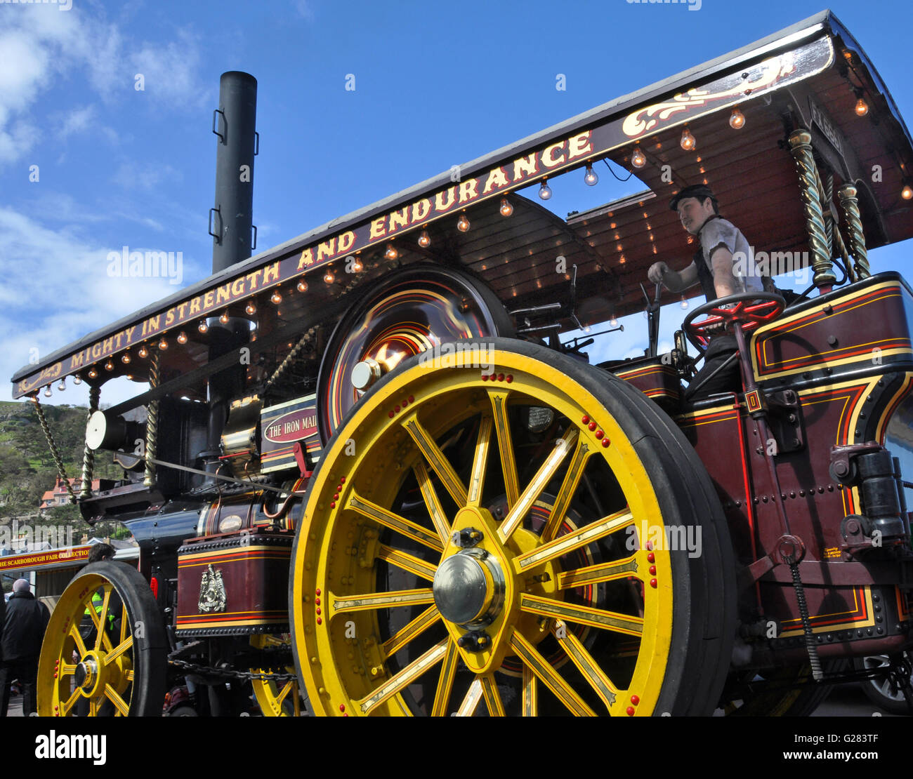 Steam powered traction engine, Victorial Extravaganza, Llandudo, Wales, UK - Stock Image