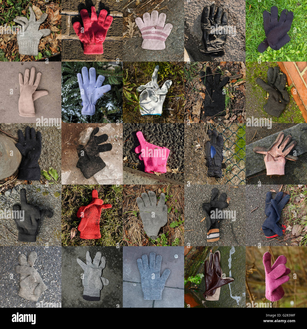 Collection of 25 lost and found gloves - Stock Image