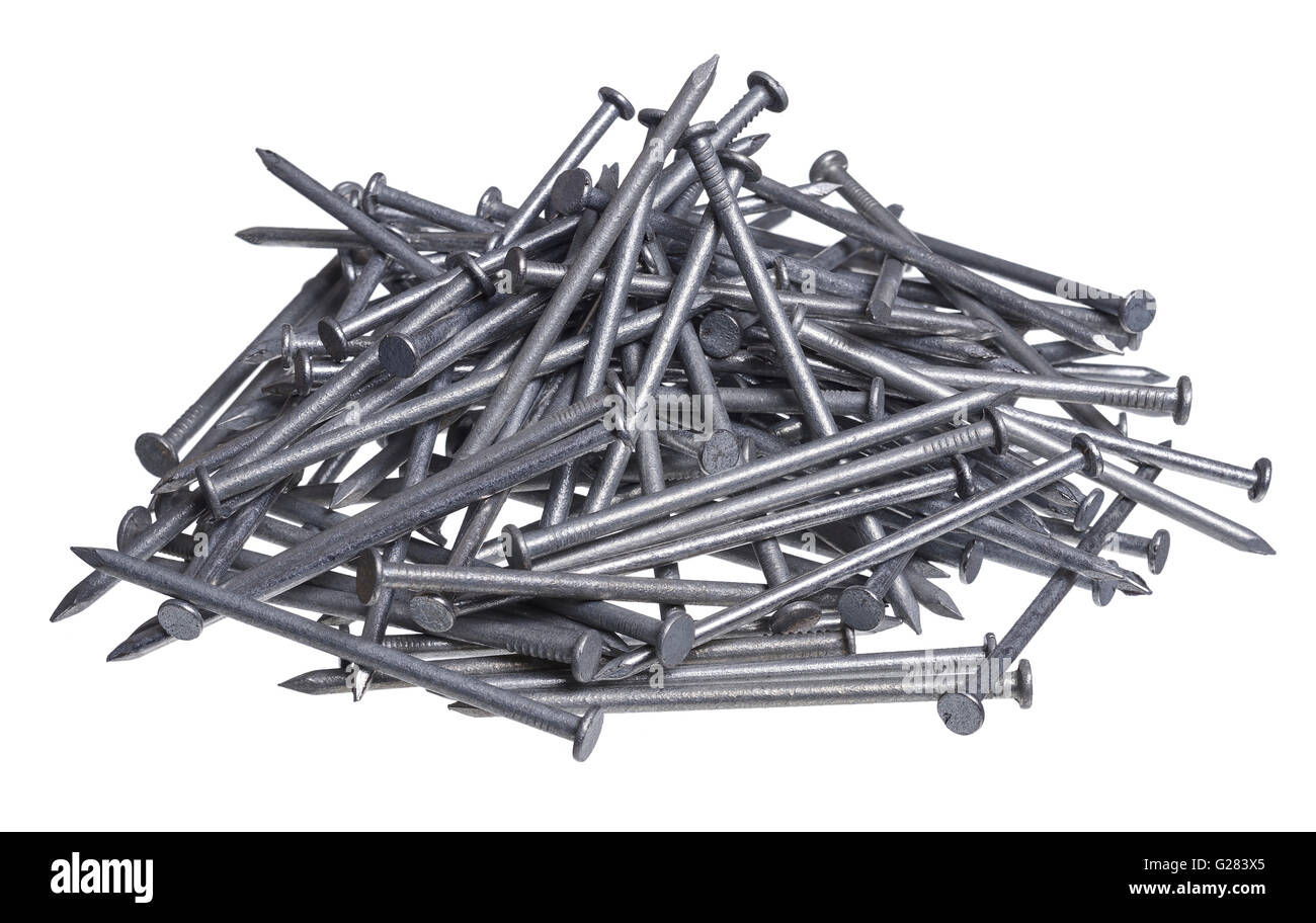 A pile of galvanized nails - Stock Image